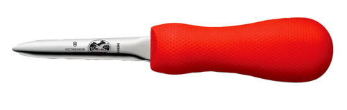 """Victorinox - 4"""" Boston Style Narrow Oyster Knife with Red SuperGrip Handle"""