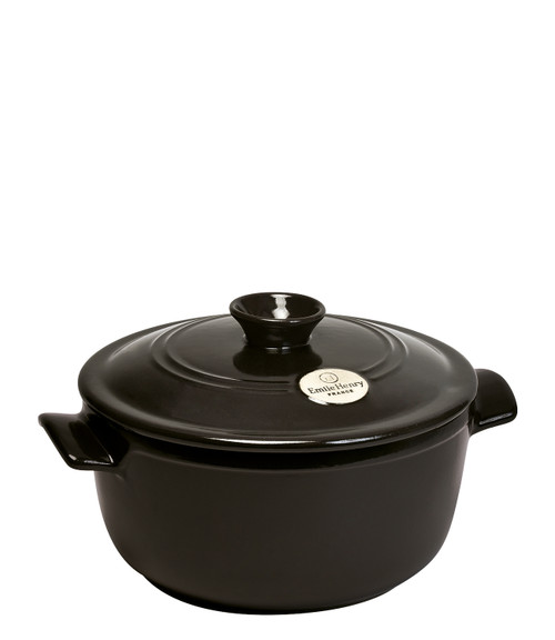 Emile Henry - Fusain (Pepper) Round Stewpot - 91794525