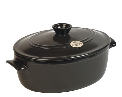 Emile Henry - Fusain (Pepper) Oval Stewpot - 91794560