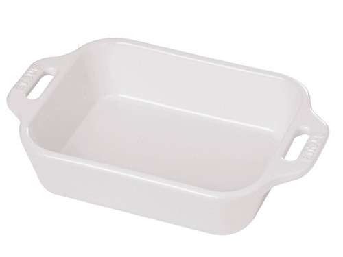 "Staub - White 7.5"" x 6"" Ceramic Rectangular Baking Dish - 40511-144"
