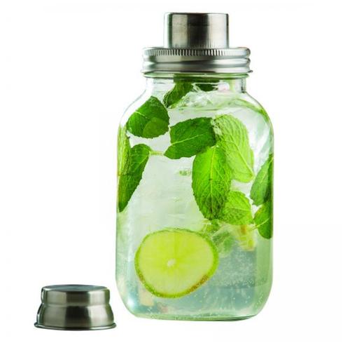 TableCraft - .4L (14oz) Mason Jar Glass Cocktail Shaker - MJS14