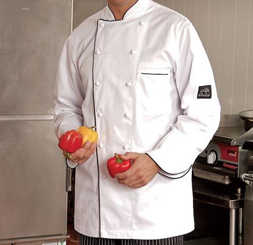 Premium - Large White Chef Coat with Black Trim - 5325L