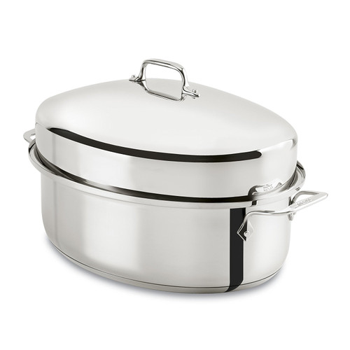 All-Clad - 10 QT Covered Stainless Steel Oval Roaster with Rack - E7979964