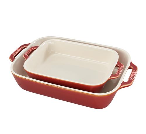 Staub - Rustic Red Rectangular Ceramic Baking Dishes, Set of 2