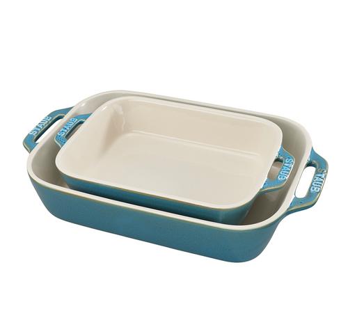 Staub - Rustic Turquoise Rectangular Ceramic Baking Dishes, Set of 2