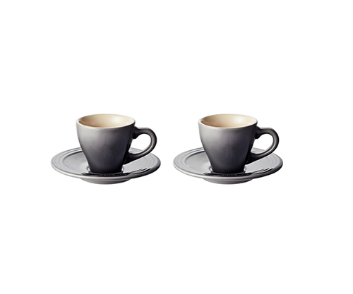 Le Creuset - Oyster Espresso Cups and Saucers - Set of 2