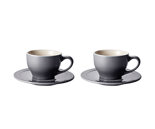 Le Creuset - Oyster Cappuccino Cups and Saucers - Set of 2