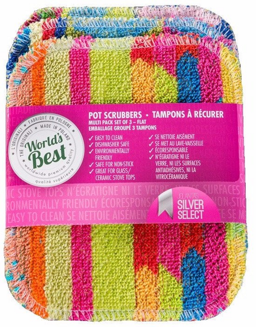 World's Best Pot Scrubber (Flat) - Multi Pack, Set of 3 - ITEMV3