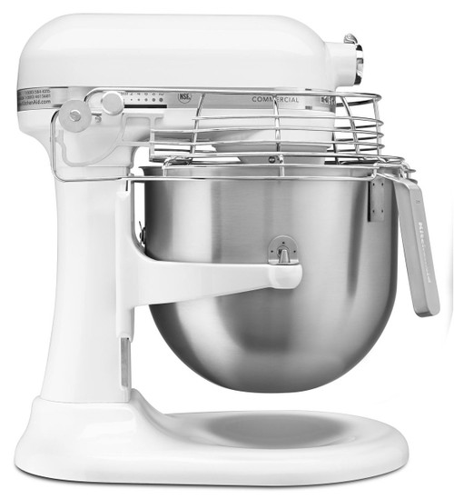KitchenAid - White 8QT Commercial Series Bowl-Lift Stand Mixer - KSMC895WH
