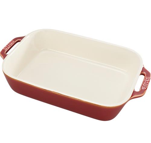 "Staub - 10.5"" x 7.5"" Rustic Red Ceramic Rectangular Baking Dish"