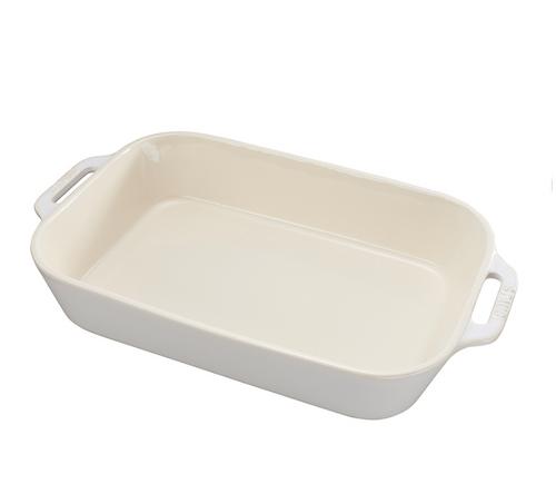 "Staub - 13"" x 9"" Rustic Ivory Ceramic Rectangular Baking Dish"