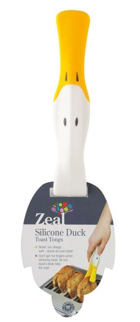 "Zeal - 5.5"" (14cm) White Silicone Duck Toast Tongs - J202DISPW"