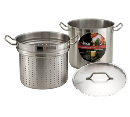 Winco - 12QT Stainless Steel Pasta Cooker w/ Steamer - SSDB12S