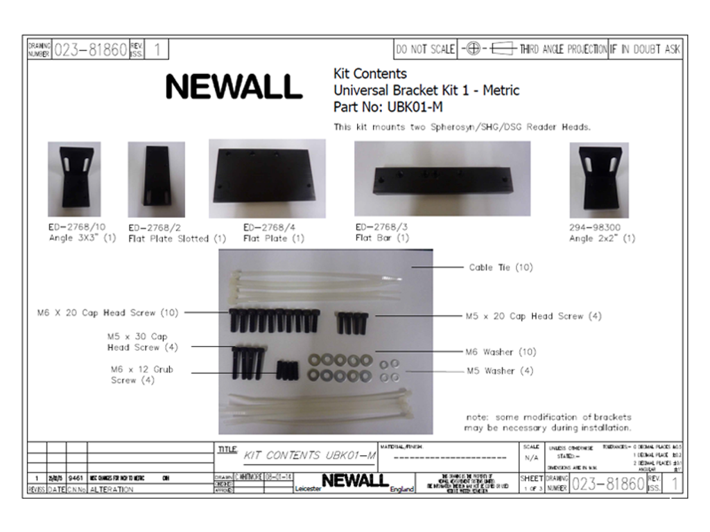 Newall Universal Bracket Kit for (2) Spherosyn Reader Heads