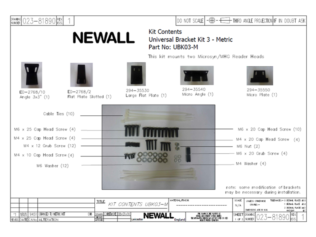 Newall Universal Bracket Kit for (2) Microsyn Reader Heads