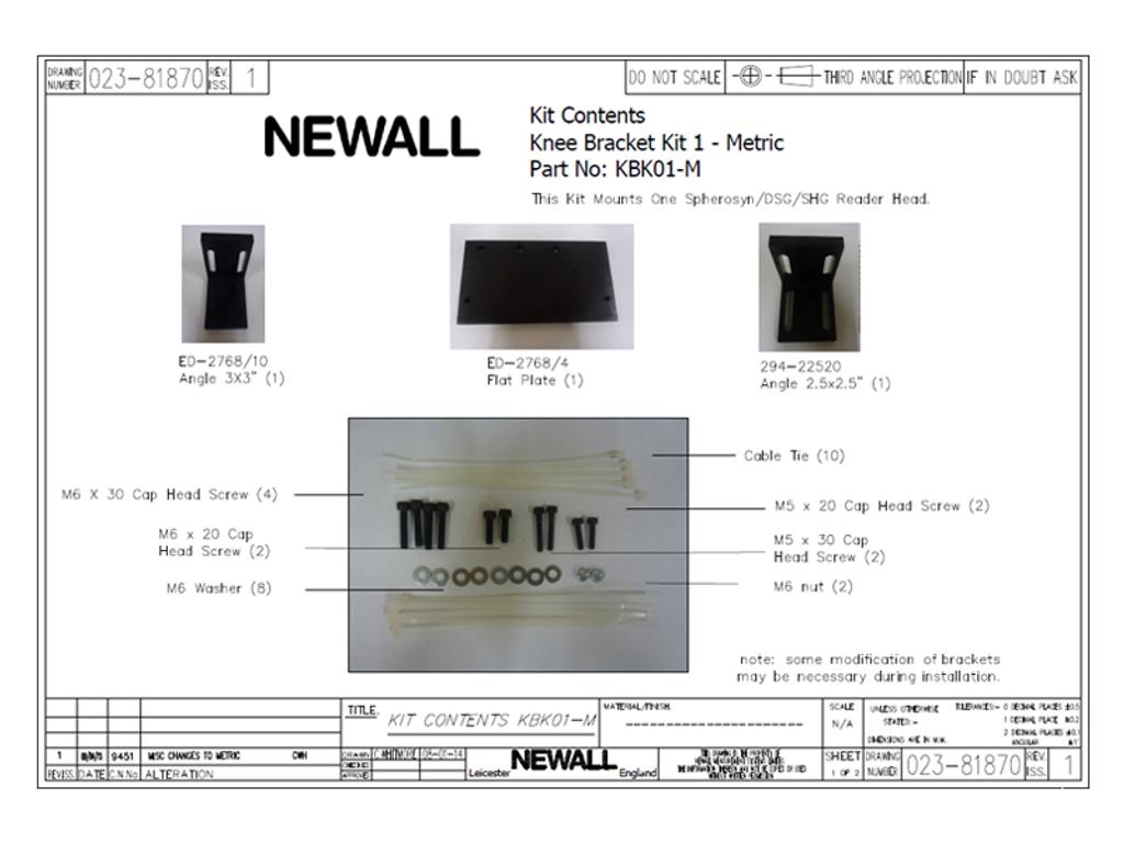 Newall Knee Bracket Kit for Spherosyn Reader Head