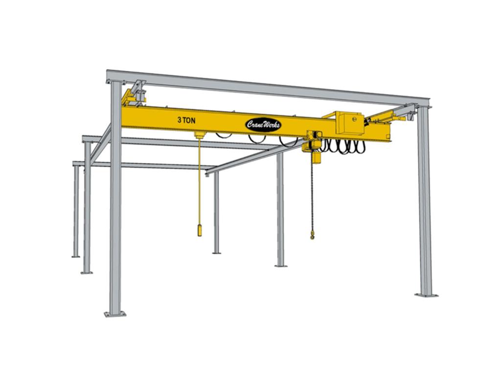 Underhung Freestanding Workstation Bridge Crane Runway, CraneWerks