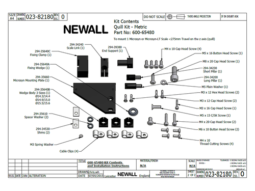 Newall Quill Bracket Kit for Microsyn Scale