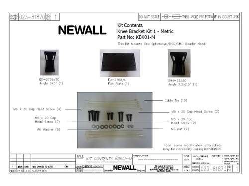 Newall Knee Bracket Kit for Spherosyn Reader Head
