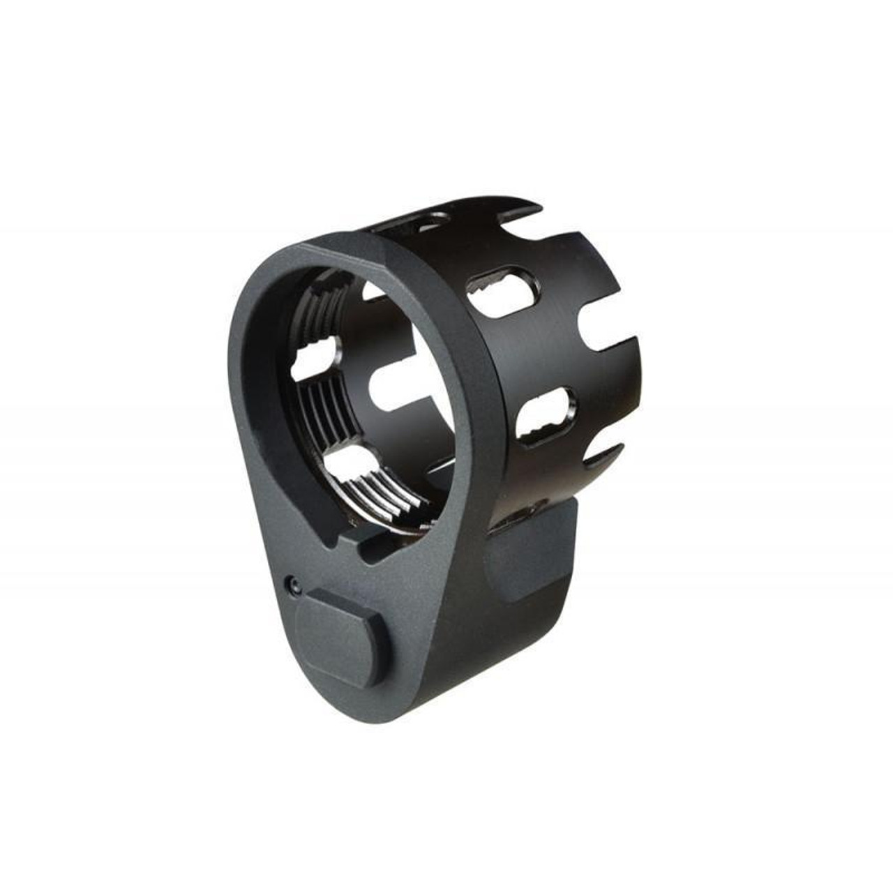 Black Label AR Enhanced Castle Nut & Extended End Plate in Black and stainless nut