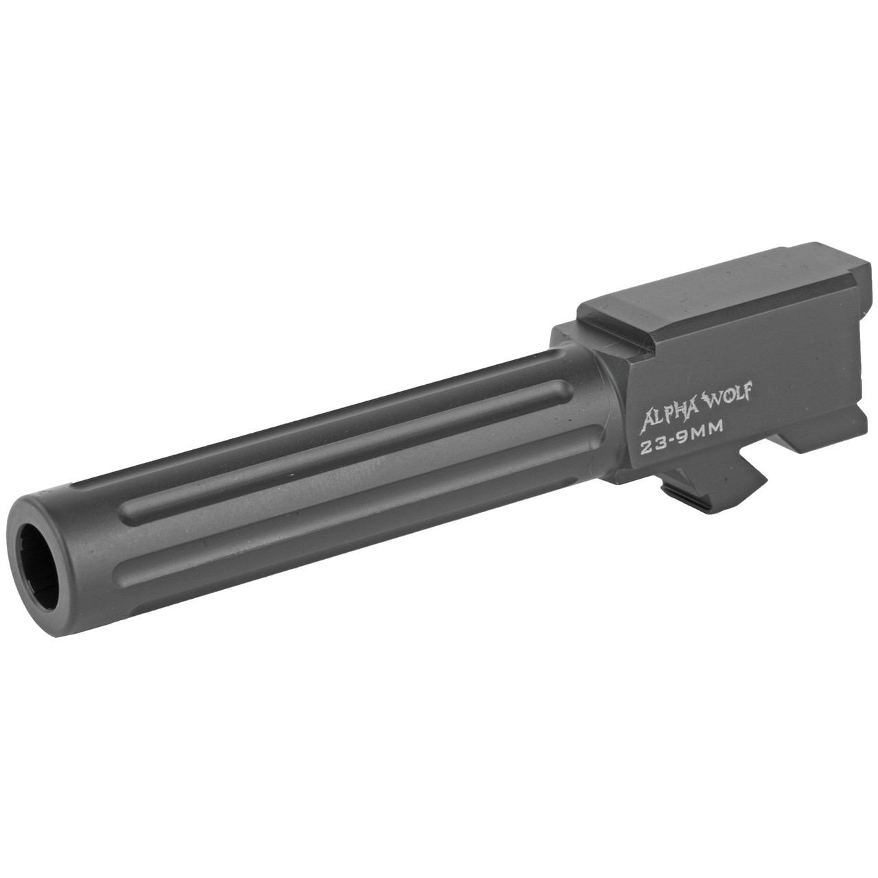 Lone Wolf Alpha Wolf Replacement Barrel For GLOCK 23/32 9mm Luger Conversion Barrel Fluted Machined 416R Stainless Steel Salt Bath Nitride Coated Matte Black AW-239N