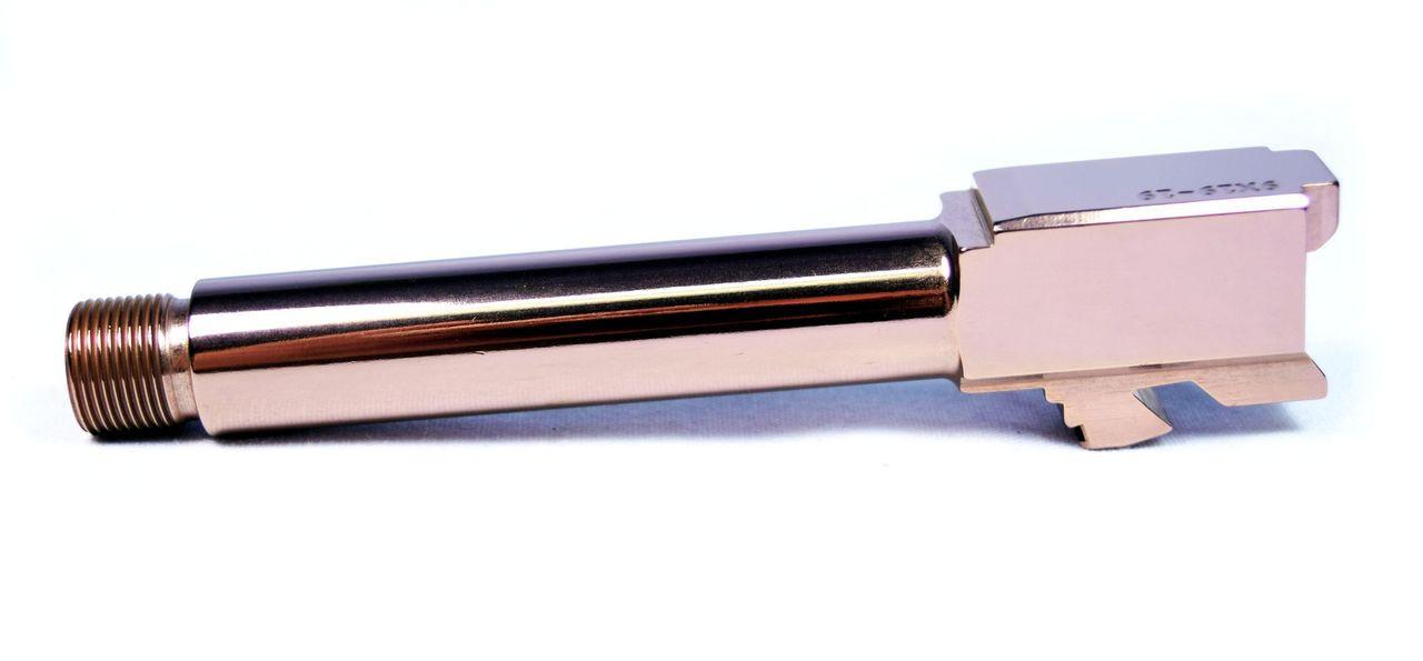 BLACK LABEL G19 9mm TITANIUM  NITRIDE ROSE GOLD STAINLESS STEEL THREADED BARREL FOR GLOCK 19