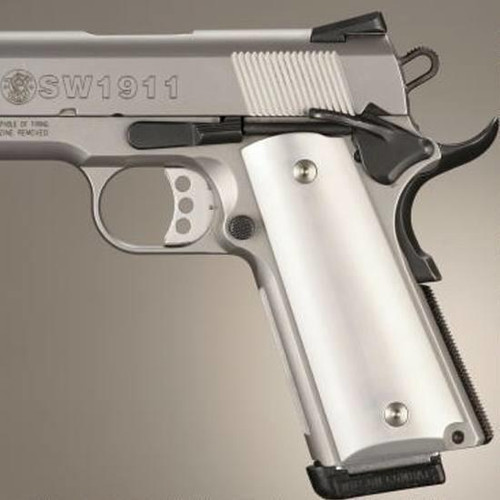 Hogue Extreme Series 1911 Government, Commander Grip Aluminum Brushed Gloss Clear 45165