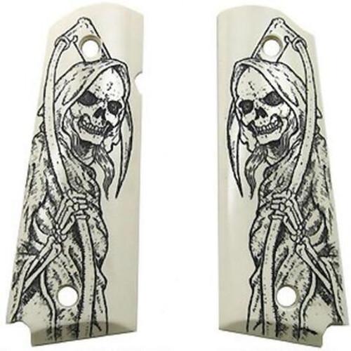 Hogue Scrimshaw Grip Panels Grim Reaper Polymer White