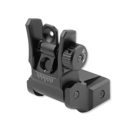 Leapers UTG Low Profile Flip-up Rear Sight with Dual Aiming Aperture | Black MNT-955