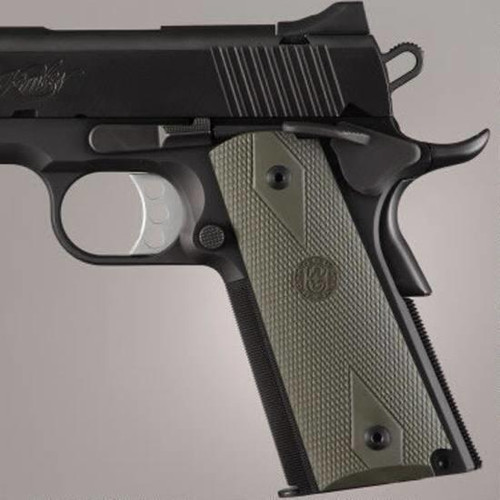 Hogue Grip 1911 Govt. Model Rubber Grip Panels Checkered W/Diamonds OD Green (CT35HO45011)