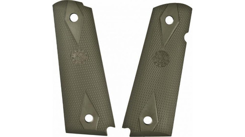 Hogue Grip 1911 Govt. Model Rubber Grip Panels Checkered W/Diamonds OD Green