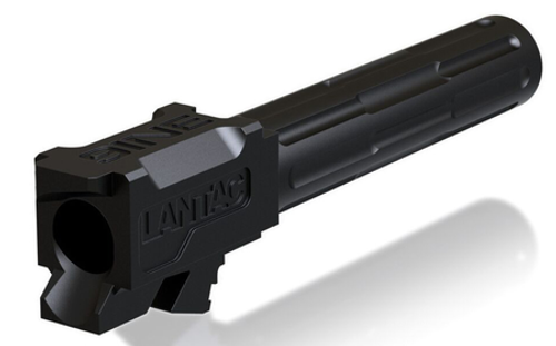 """Lantac 9INE Drop In Replacement Barrel GLOCK 19 Fluted/Non-Threaded 9mm Luger 1:10"""" Twist Stainless Steel Black DLC Finish"""