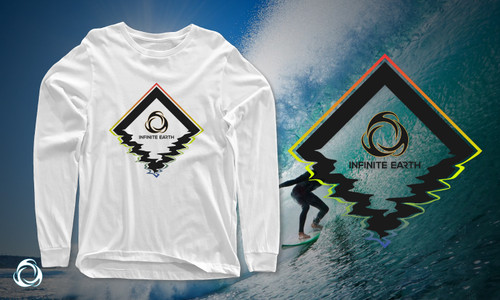 Diamond Head: White Organic Long Sleeve Cotton T-shirt Banner