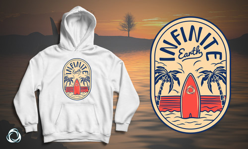 Beach Chill: White Fleece Hoodie Banner