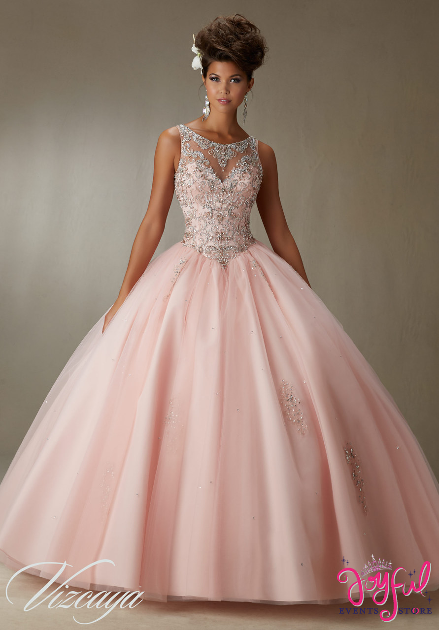 355b3629e5c Quinceanera Dress Embroidery And Beading On A Tulle Ball Gown Price - Joyful  Events Store