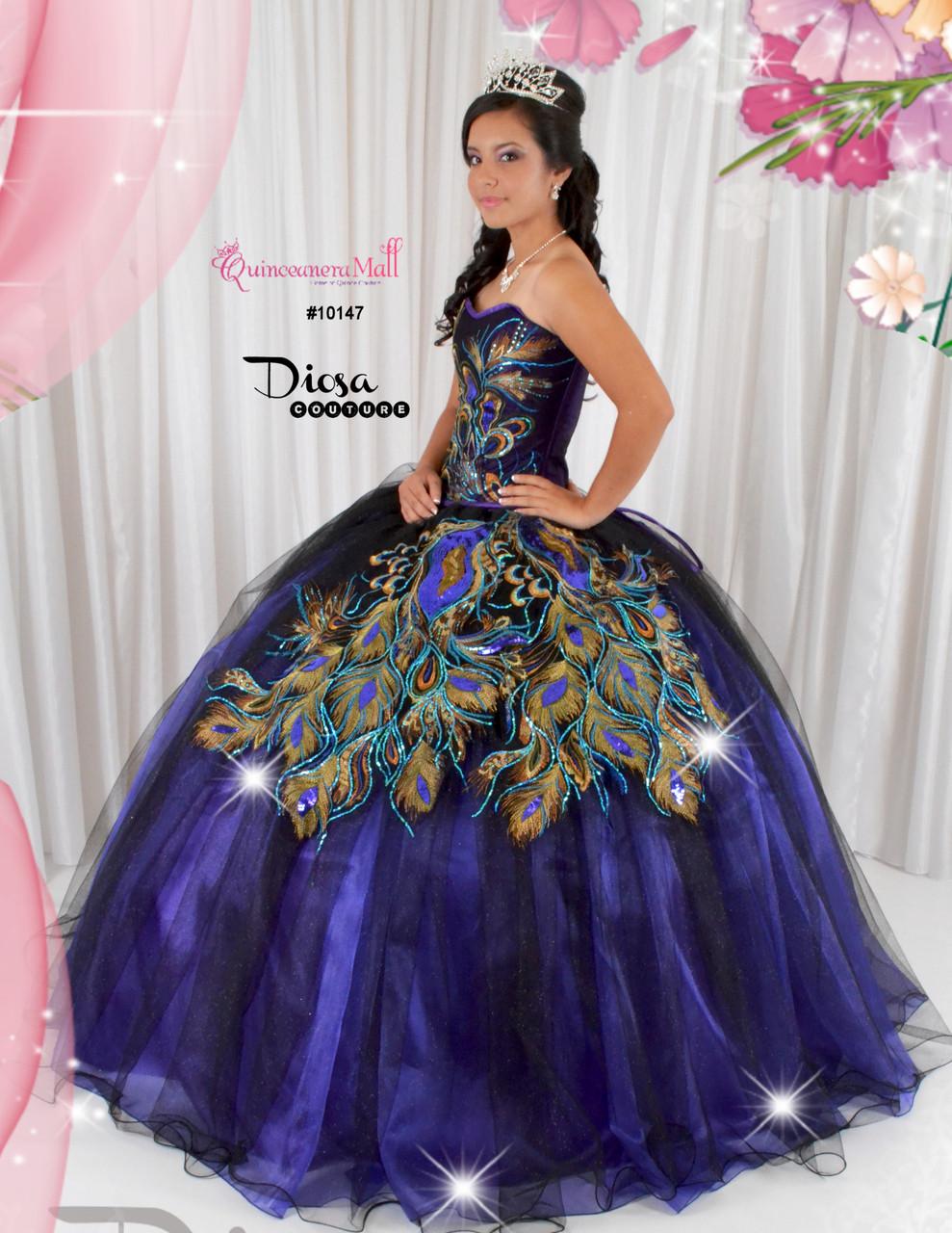 20066747296 Quinceanera Peacock Dress  10147JES - Joyful Events Store