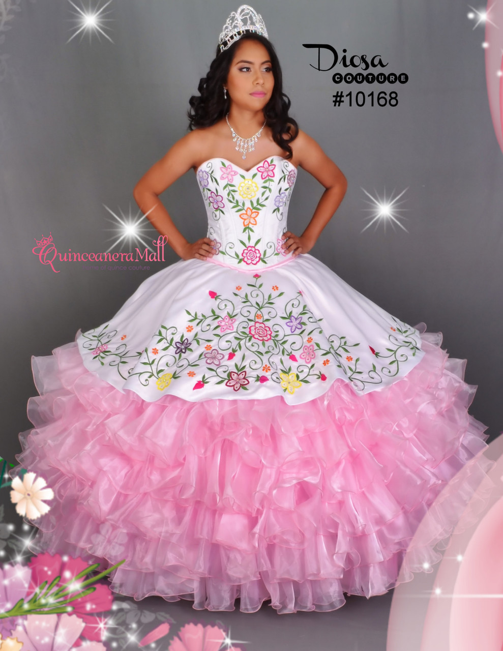 30d2d62aae Multi Color Flowers Quinceanera Dress  10168JES - Joyful Events Store