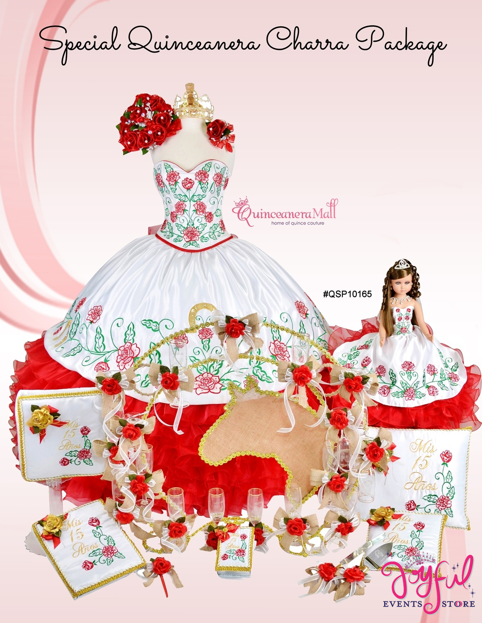 b1f2f548065 Charra Dress with Red Roses  10165 - Joyful Events Store