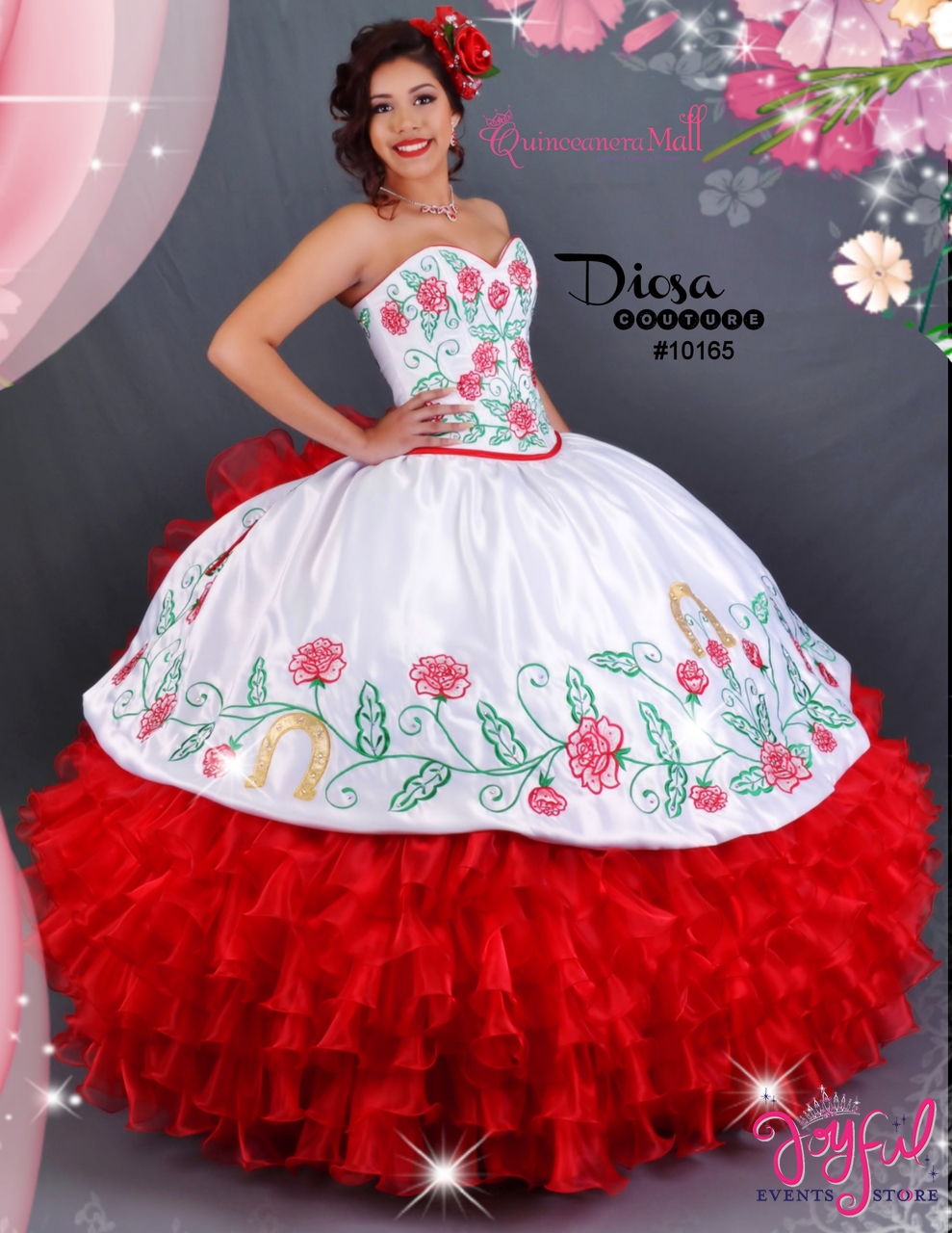 Charra Dress with Red Roses 10165