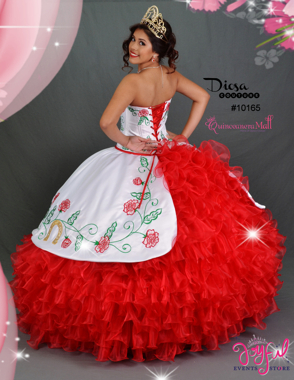 6f4a2153e5c Charra Dress with Red Roses  10165 - Joyful Events Store