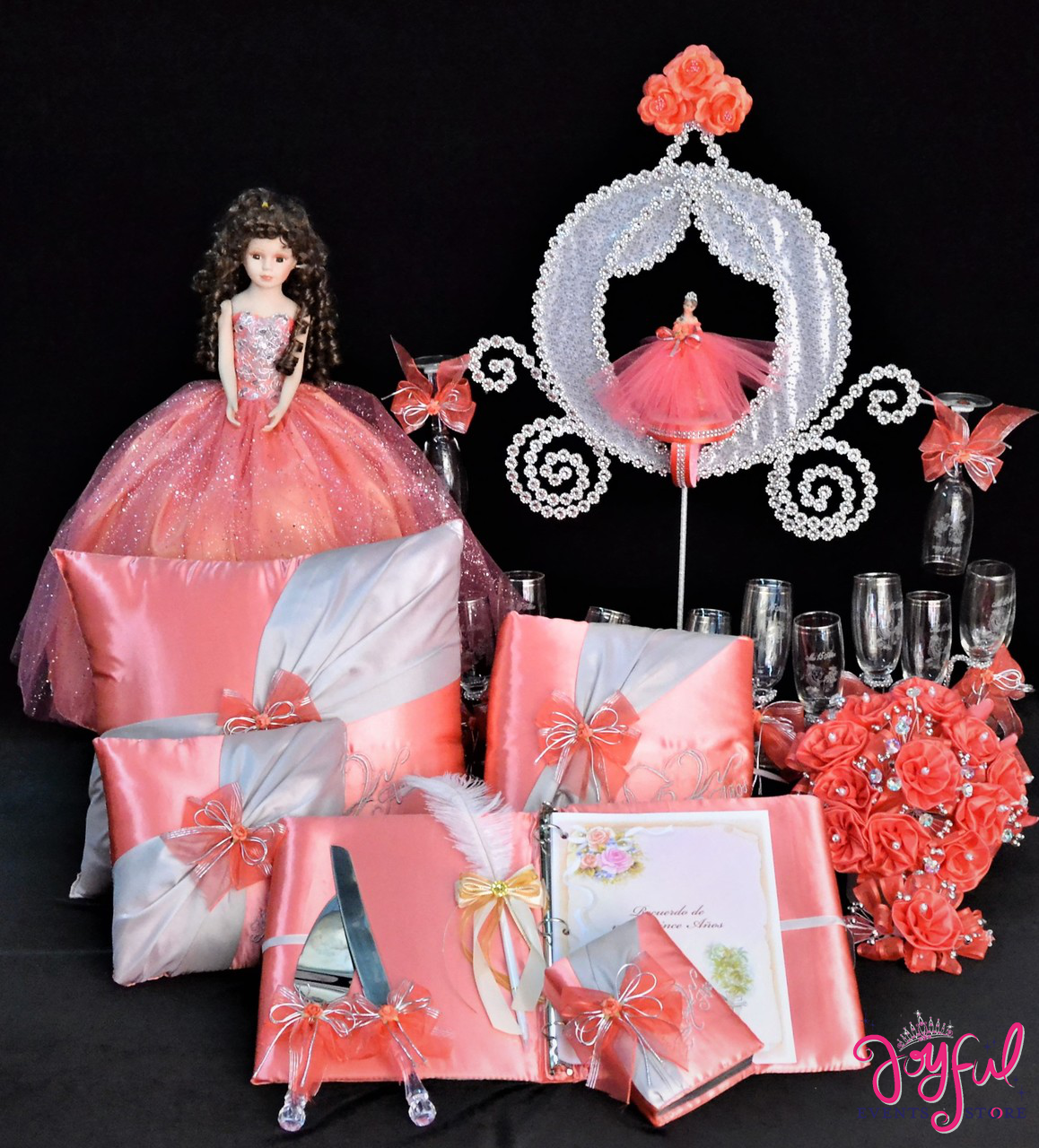 Cinderella Theme Accessories Quinceanera Package Toasting Set Doll Pillows Guest Book Album Flower Bouquet And Cake Server Qsp159