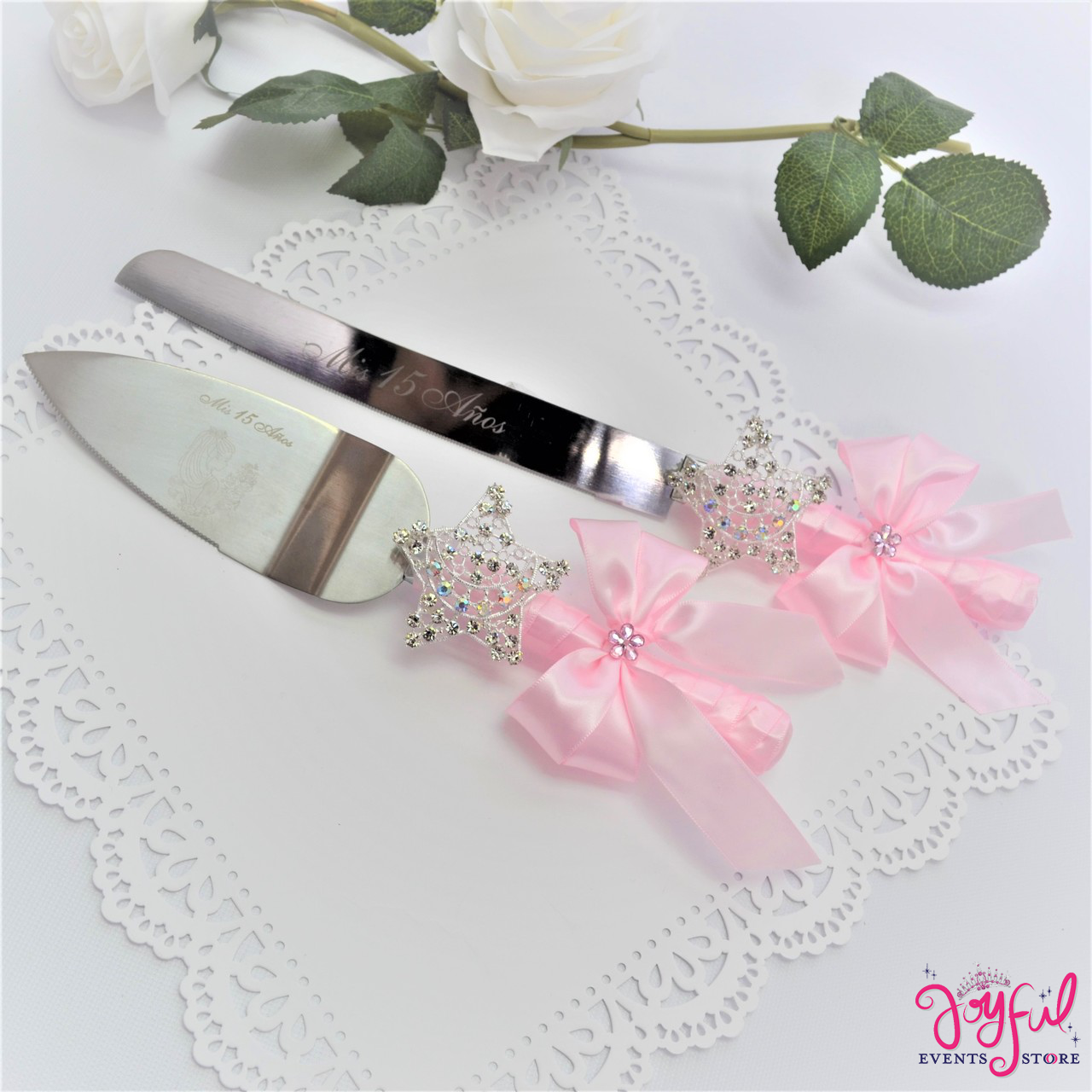 Wedding cake knives sets Coral wedding Cake cutting sets Coral and mint wedding Cake serving sets Mint green and coral wedding