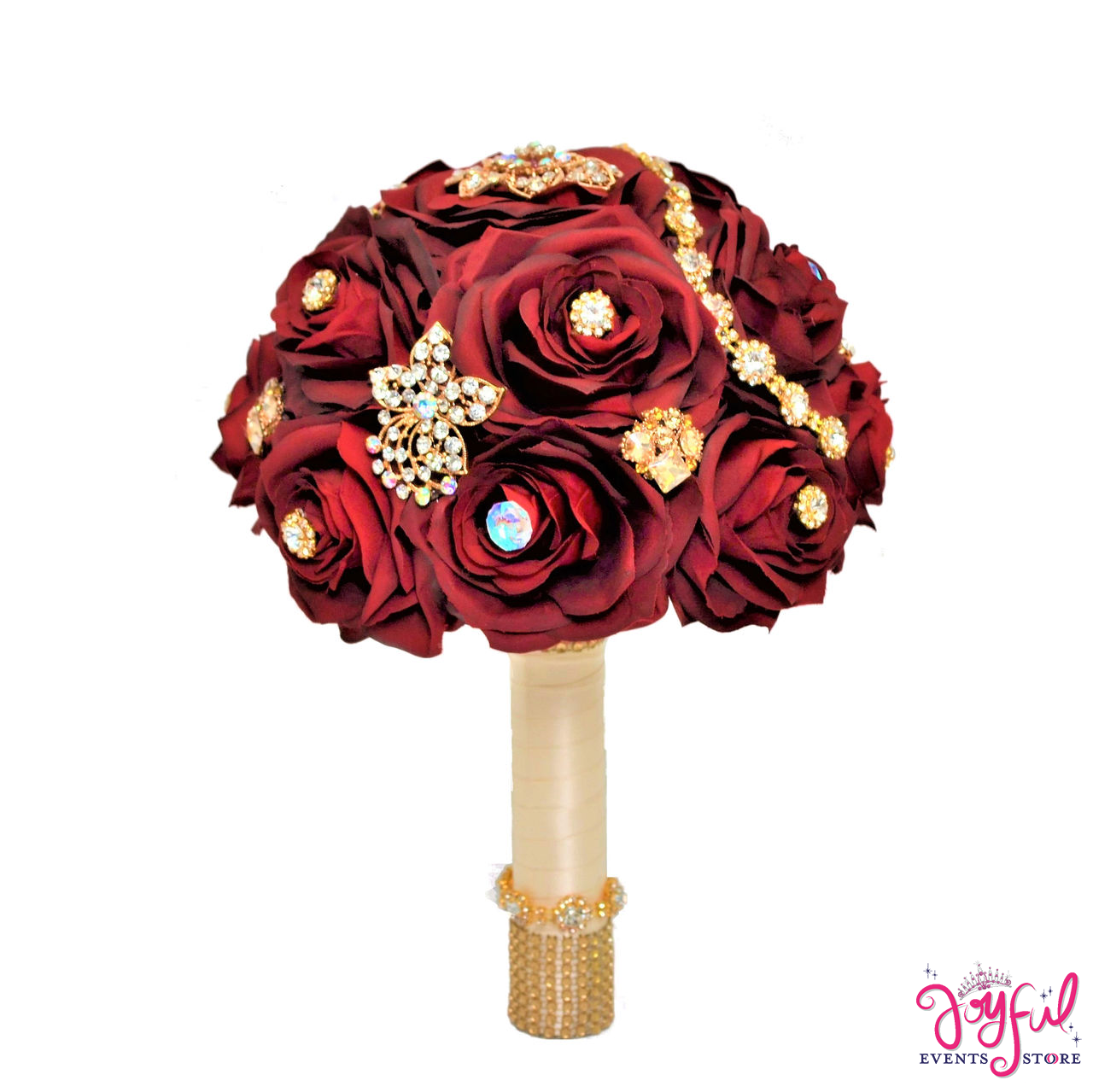 11 Silk Round Rose Flower Bouquet Embellished With Crystals And Brooches For Brides Or Quinceaneras One Rac80 Joyful Events Store