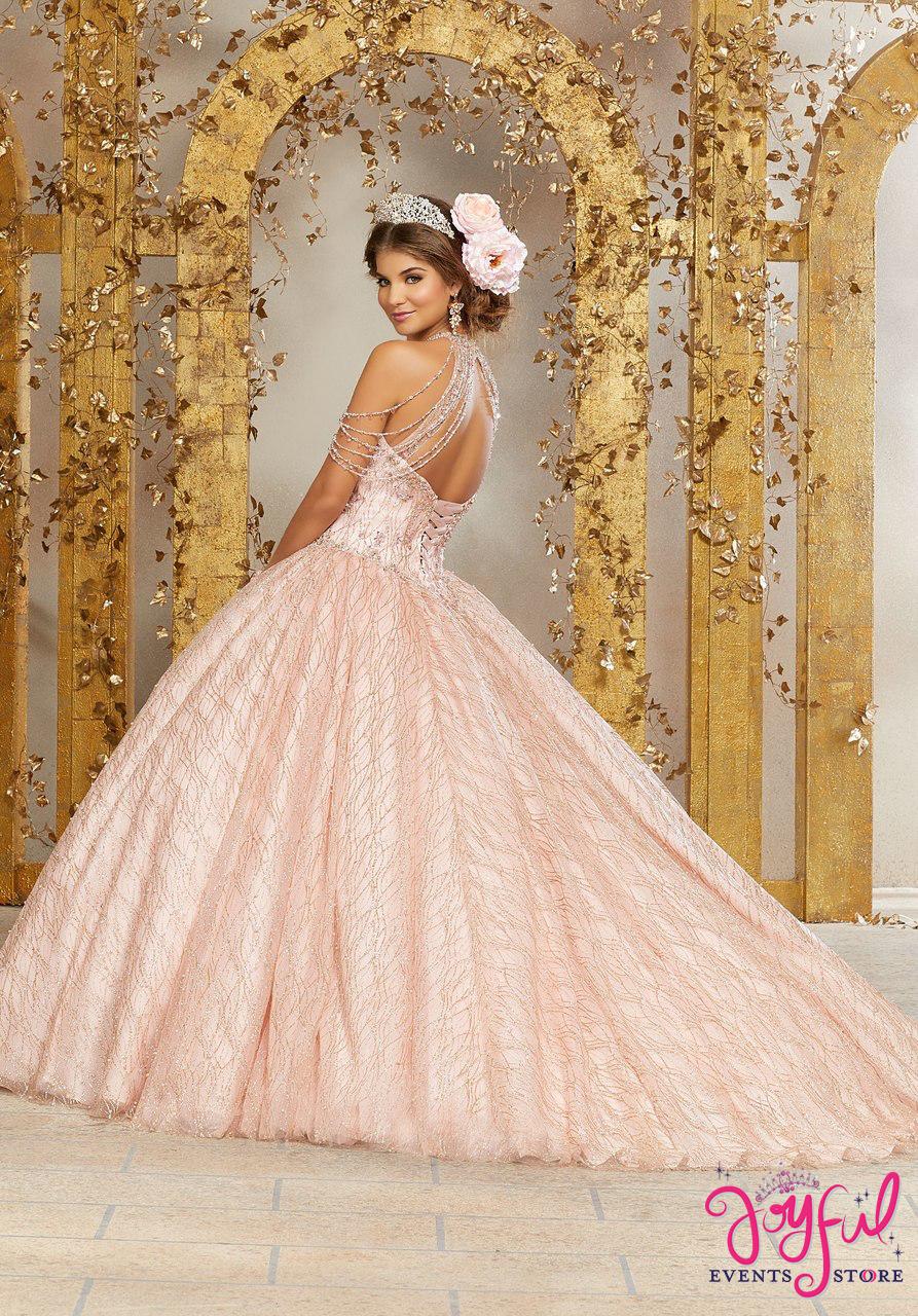 30ded7c70fd Mori Lee Vizcaya Crystal Beading on a Patterned Glitter Mesh Ballgown   89221 - Joyful Events Store