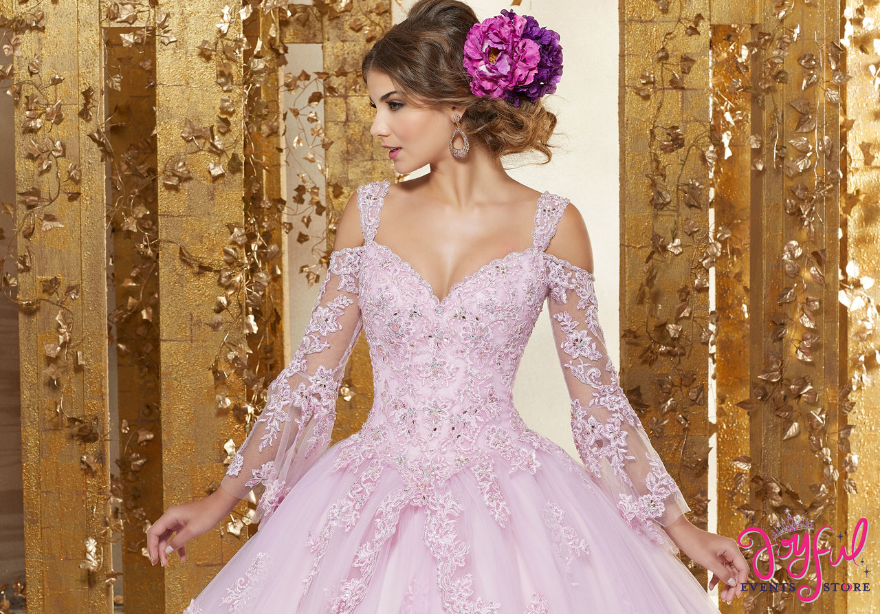 0246cc2c17 ... Crystal Beaded Lace Appliqués on a Princess Tulle Ballgown  89228 ...