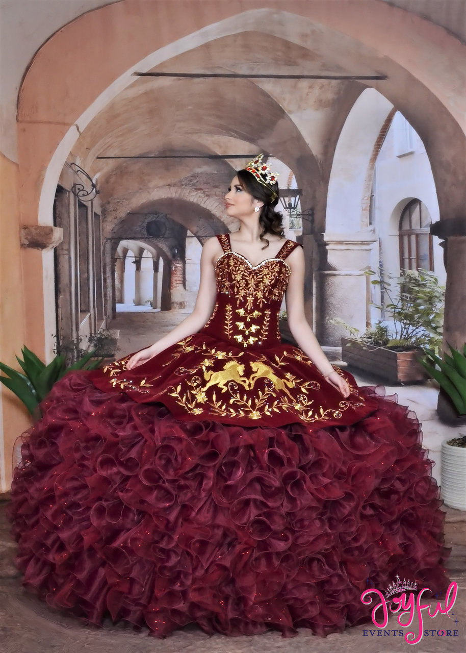 Charra And Charro Western Quinceanera Dress With Horses Design