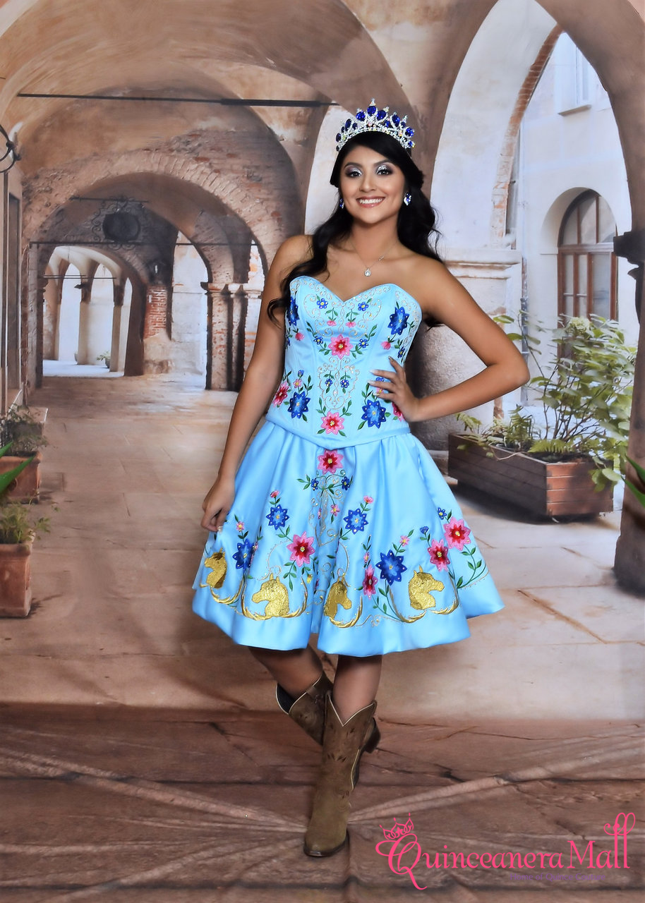 b4ef332f486 Charra and Charro Western Quinceanera Dress with Horses Design
