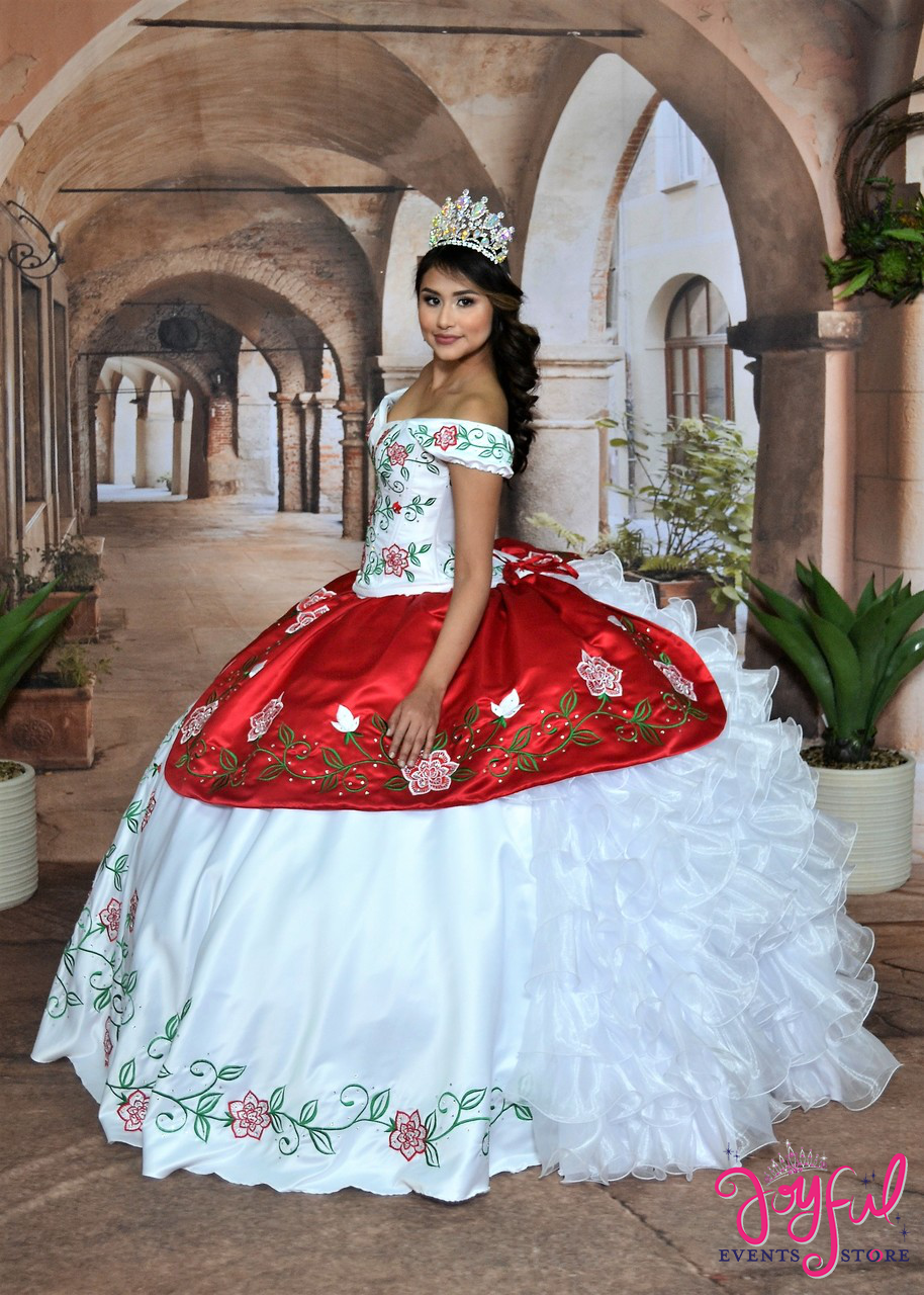 Charro Dress with Embroidered Roses 10194