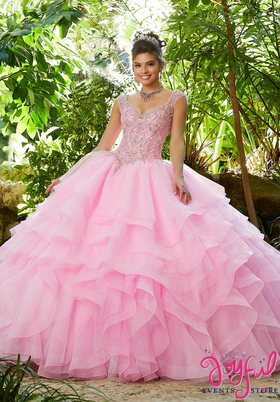c452f193c14 Rhinestone and Crystal Beading with Embroidery on a Flounced Organza and  Tulle Ballgown  89253 - Joyful Events Store