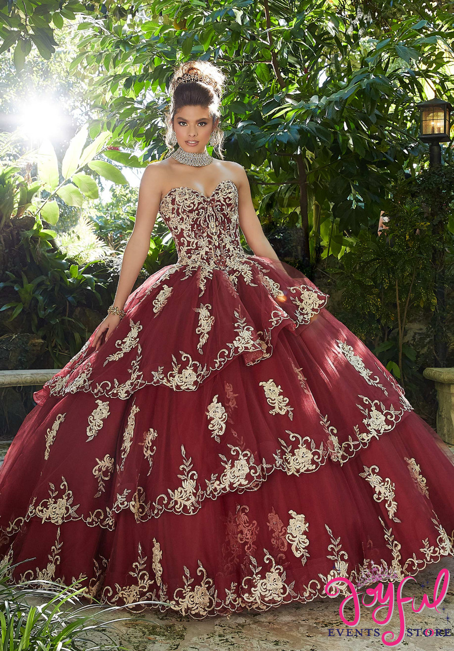 a0f1ff4d991 Rhinestone and Crystal Beading on a Tiered Tulle Ballgown  89258 - Joyful  Events Store